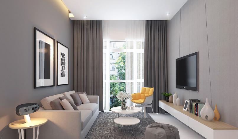 Thiết kế nội thất căn hộ chung cư The Habitat – 2 phòng ngủ