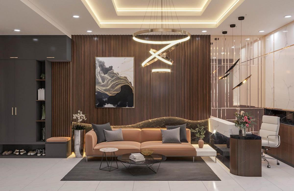 Thiết kế nội thất phòng khách nhà phố tại Bình Dương từ PHG